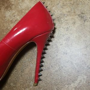 Dolce Vita spiked patent leather red heels
